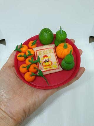 Customise CNY fruit tray made of polymer clay