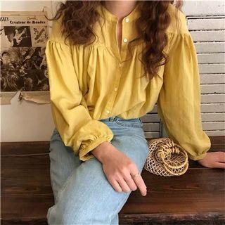 檸檬黃泡泡袖襯衫