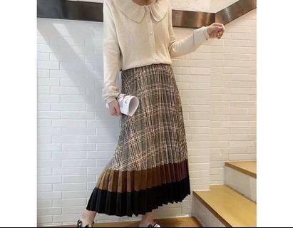 🚚 格紋百折長裙