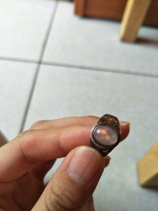 蛋白石 歐泊 戒指 純銀