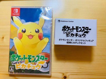 Pokemon Let's Go! 比卡超版連Pokemon center 早期購入特典半身figure Switch 全新未開封(日版可選中文)蝕讓