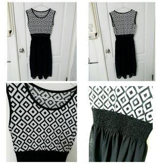 🚚 幾何黑白 雪紡長裙 黑色長裙 長洋裝