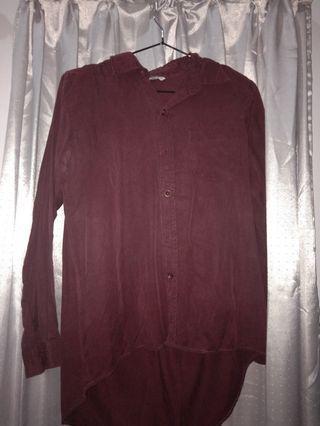 kemeja h&m maroon/merah gelap/casual outfit