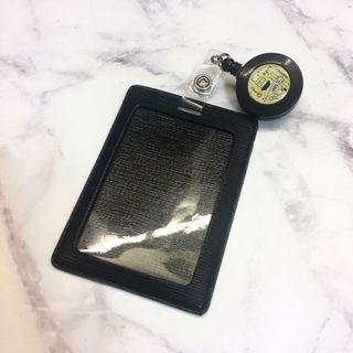 識別證/悠遊卡/卡片伸縮夾.黑色.皮革木紋感