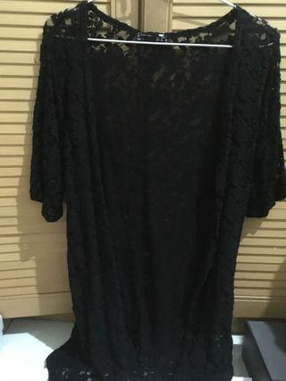 Black Crochet Long Outer