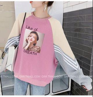 🚚 韓版粉色白色可愛流行人物長袖衣