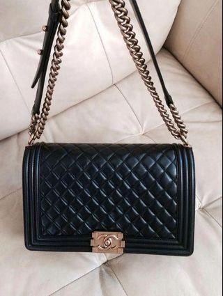chanel boy flap quilted bag FAUX