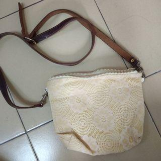White Lace Sling Bag
