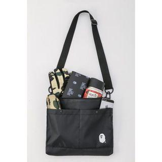 🚚 A Bathing Ape Bape - Black nylon Sling bag with Adjustable strap