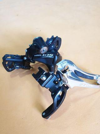 Shimano 105 Rear Derailleur Blk/Med Cage GS; Front Derailleur Blk/Braze-on with BBB BSP-90 ShiftFix FD Band-on 34.9mm dia