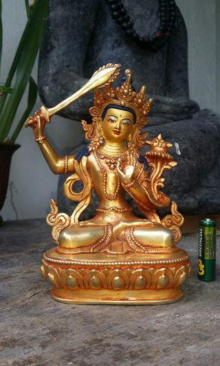 藏傳銅鎏金佛像.文殊菩薩.尼泊爾做工