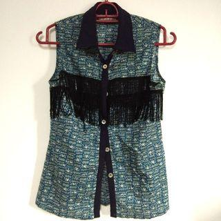 Kitschen Blue Sleeveless floral Blouse with fringes