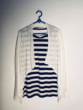[DISKON! 🔥 🔥 🔥]2 in 1 Cardigan with Stripe Top