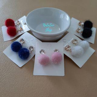 New Anting PomPom Korea Lucu | Anting Tusuk Giwang | Fur Ball Earrings