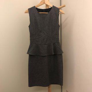 Grey Peplum Work Dress 👗 #dressforsuccess30