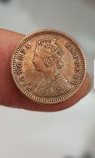 1884 Victoria Empress 1/12 Anna India coin