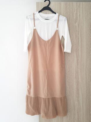 🚚 Nude / beige pinafore dress with frills / pleats