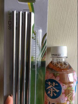 26.6cm不銹鋼飲管4枝+刷(包郵)