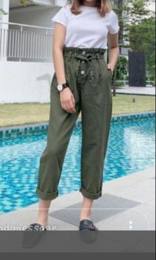 High waisted army green pants