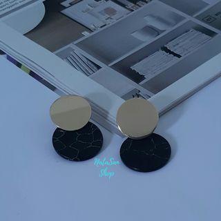 New Anting Akrilik Bulat Korea | Anting Tusuk Giwang | Marble Earrings