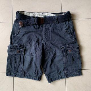 全新正品 Abercrombie & Fitch AF W31 藍色短褲附腰帶