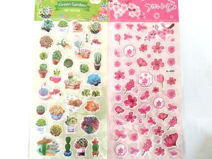 [INSTOCK] Succulents & Sakura sticker sheets