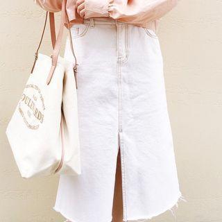 韓國純白中叉橄欖綠線牛仔裙