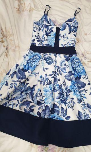 Pretty Dress (White and Blue) with adjustable straps
