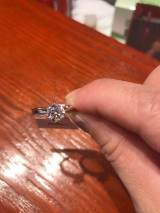 Moissanite (affordable substitute for natural diamond) ring, 925 silver