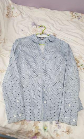 Brand New H&M Long-Sleeved Shirt (Pretty Blue Dots)