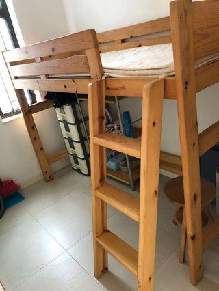 Pine wood bed with ladder