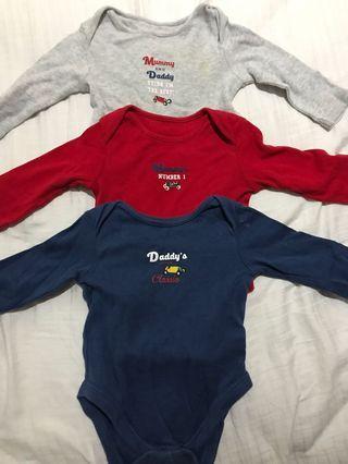 Mothercare bodysuit tangan panjang 1 set isi 3 pcs