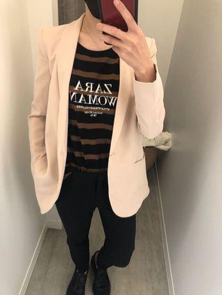 全新微瑕轉賣 Mango粉膚色西裝外套xs