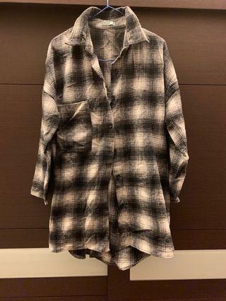 Oversize 長版磨毛襯衫 格紋襯衫