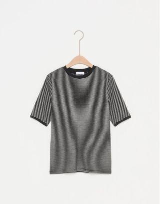🚚 全新GENQUO美國棉❤️復古滾邊細條彈性上衣S 黑色