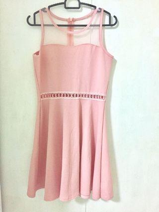 Pink Mesh Panel Dress