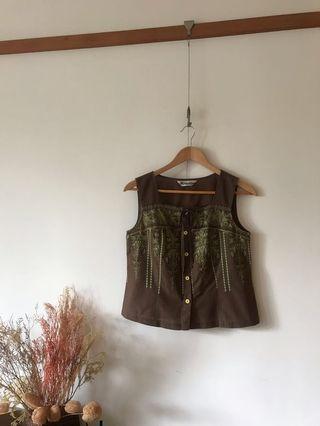 Vintage 棉麻刺繡方領口上衣