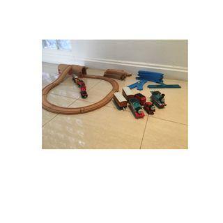 Wooden train set with bonus plastic train set bundle