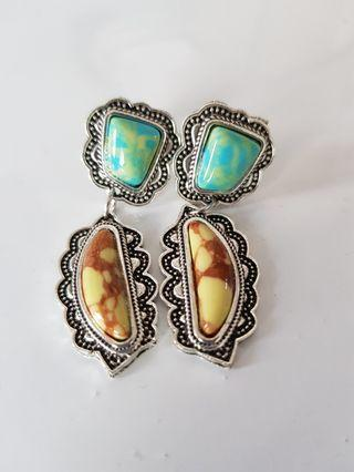 BN Antique Design Yellow and Turquoise Blue Earrings