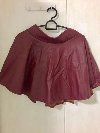 Faux Leather Maroon Skater Skirt