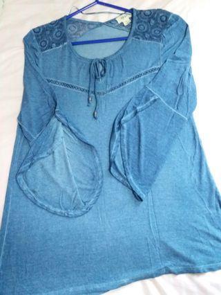 洗水藍荷葉袖蕾絲舒服料