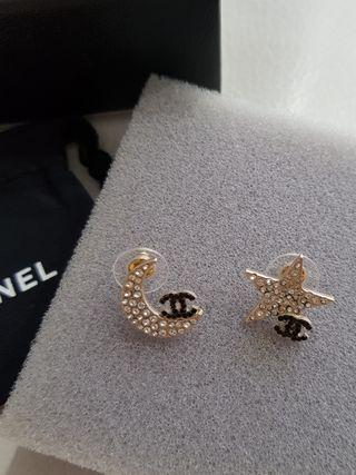 Chanel Star & Moon Crystal Earrings
