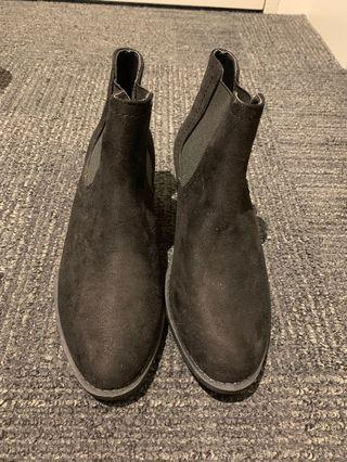 black low cut boots