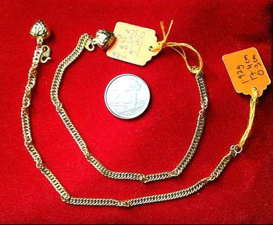 Real 916 gold chain link bracelet with 1 love pandent