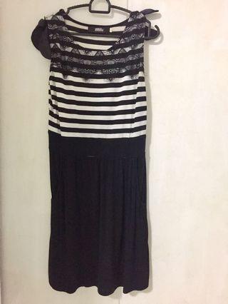 Striped Dress w/ Floral Detail