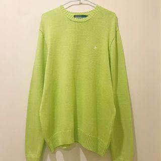 [已售出]古著POLO針織毛衣 大學T 螢光色 / Polo Ralph Lauren Vintage Sweater Fluorescent Green