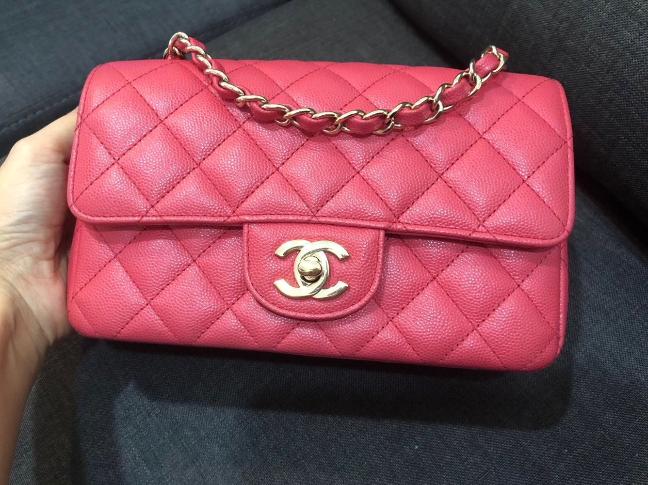 1fd717c695b225 17C chanel caviar mini rectangular light pink GHW, Luxury, Bags ...