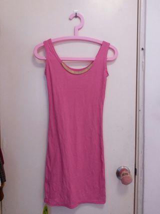全新粉紅色背心裙 連身裙 (寫剪牌)