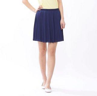 Uniqlo Navy Blue Pleated Skirt