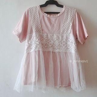 Korean Style Pink Top with Lace Details (Front & Back)